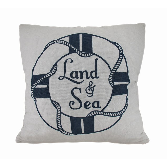 Land And Sea White And Blue Life Preserver Throw Pillows