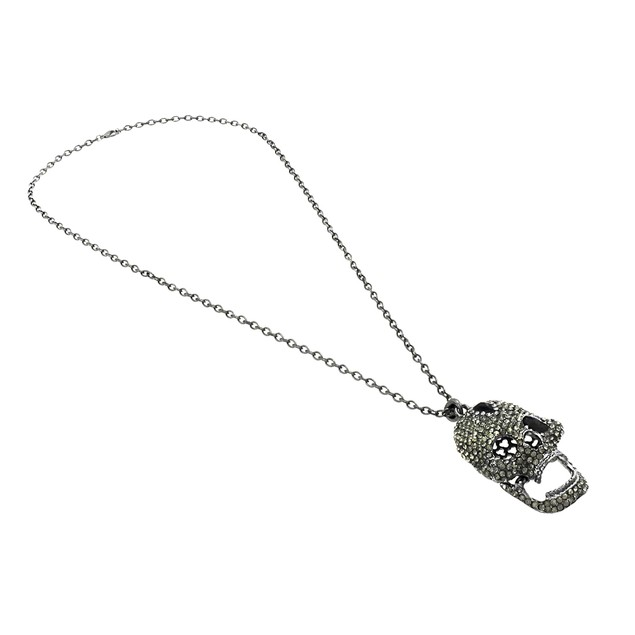 Gunmetal Finished Rhinestone Encrusted Skull Chain Necklaces