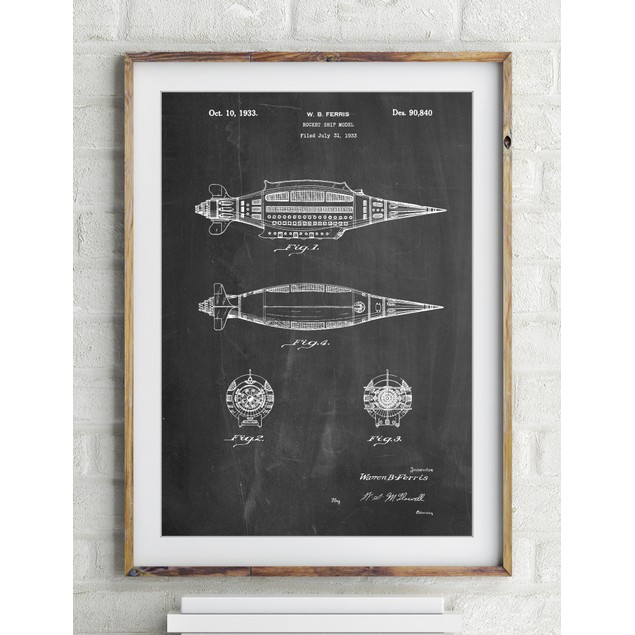 Rocket Ship Model Patent Poster