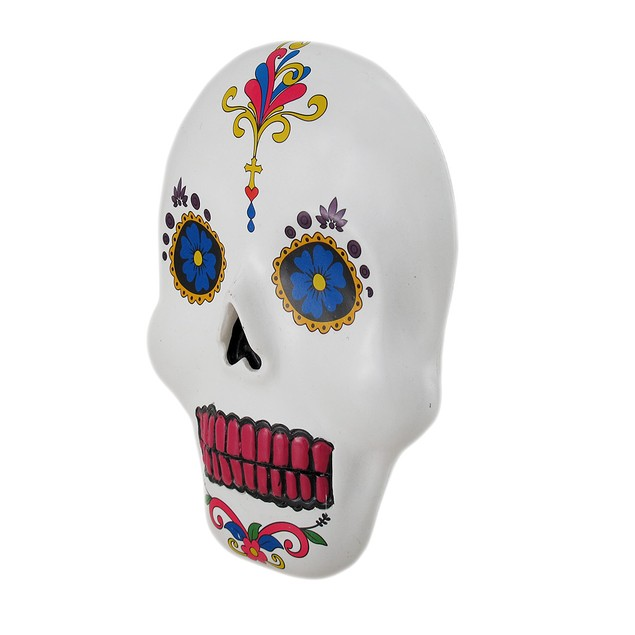 White Day Of The Dead Colorful Sugar Skull Wall Wall Sculptures