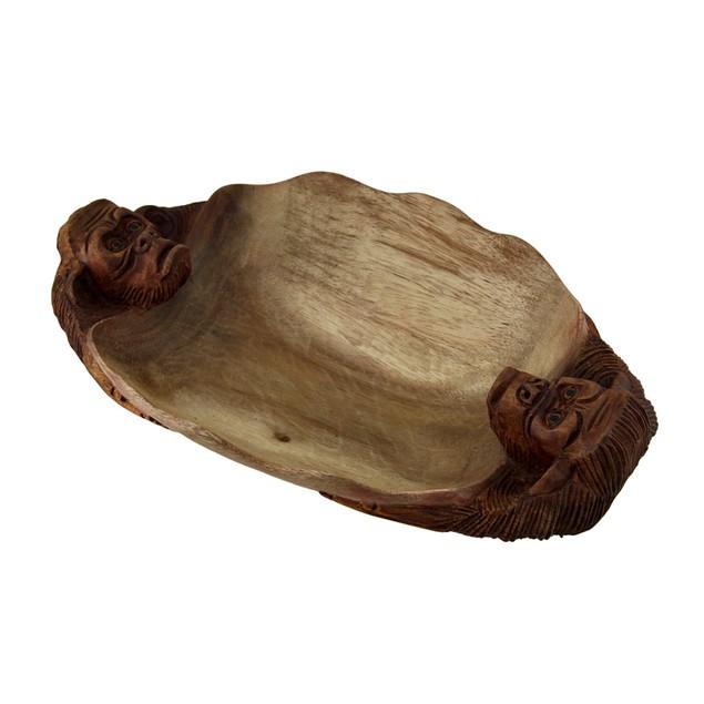 Small 2 Tone Hand Carved Gorilla Teak Wood Decorative Bowls