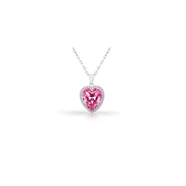 18KT White Gold Plated Halo Pink Topaz Heart Pendant in Sterling Silver