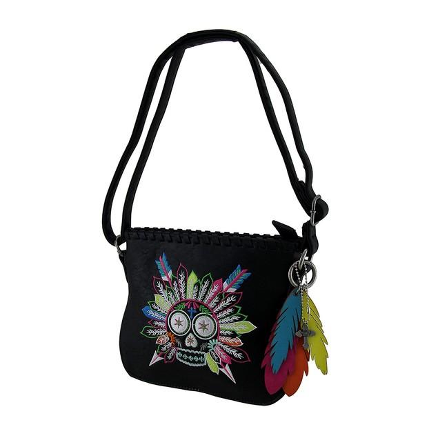 Feathered Sugar Skull Embroidered Handbag Womens Shoulder Handbags