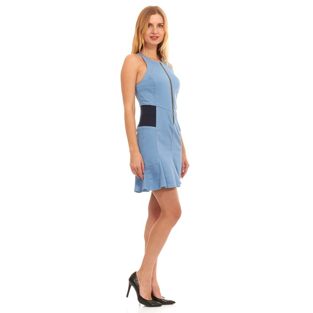 Red Jeans Women's Woven Canvas Denim Dress with Elastic Waist