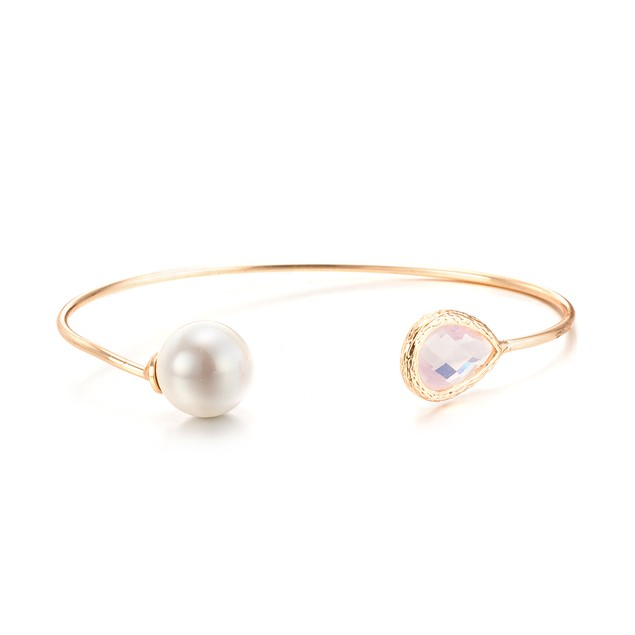 Gold Plated & Ball Open Ended Bangle