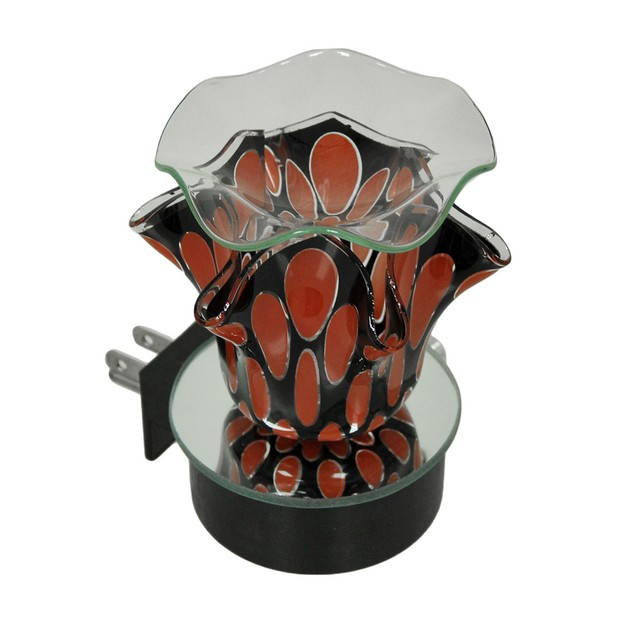 Decorative Red And Black Art Glass Night Light Oil Oil Warmers