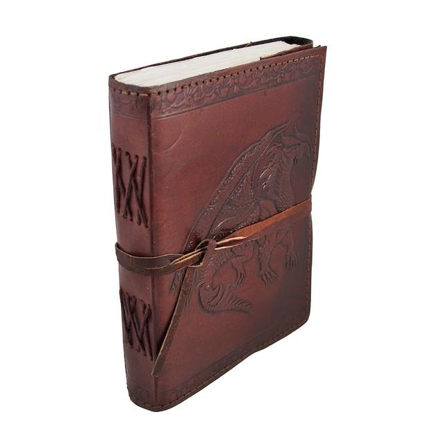 Embossed Leather Medieval Dragon 120 Leaf Unlined Art Sketchbooks And