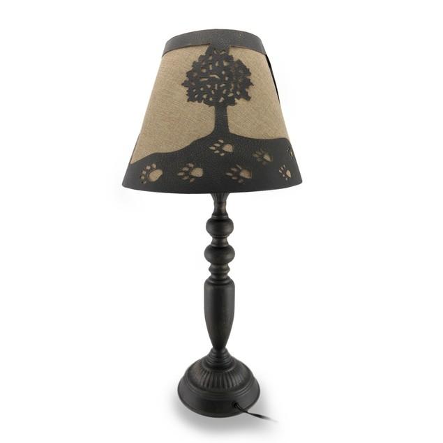 Distressed Finish Metal Lamp W/Matching Black Bear Table Lamps