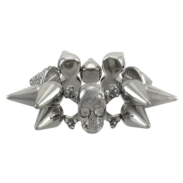Silvertone Skull And Crossbones Spiked Stretch Womens Stretch Bracelets