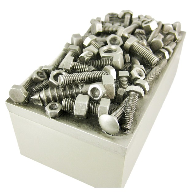 Silver Finish Nuts  Bolts Trinket / Jewelry Box Decorative Boxes