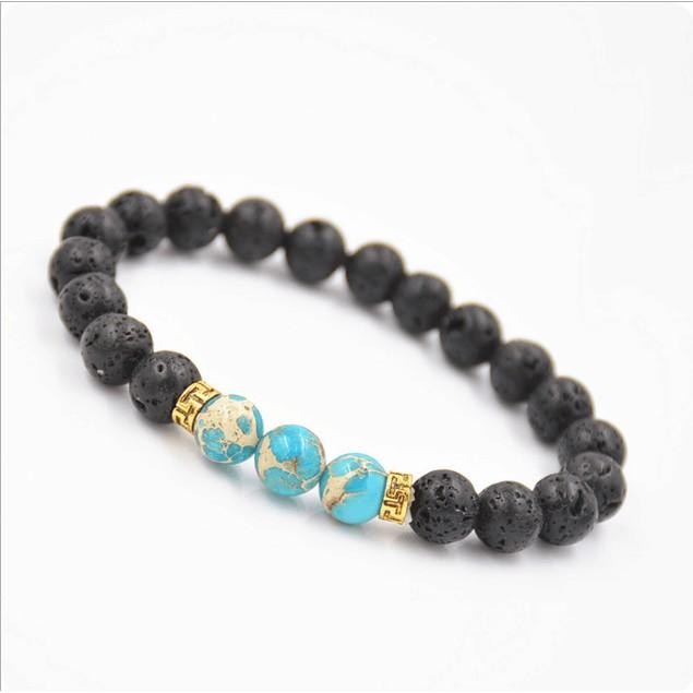 Tibetan Lava Stone Gold Plated Bracelet