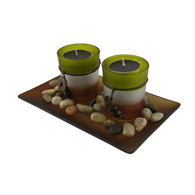 3 Piece Glass Votive And Tealight Candle Garden Candle Holder Sets