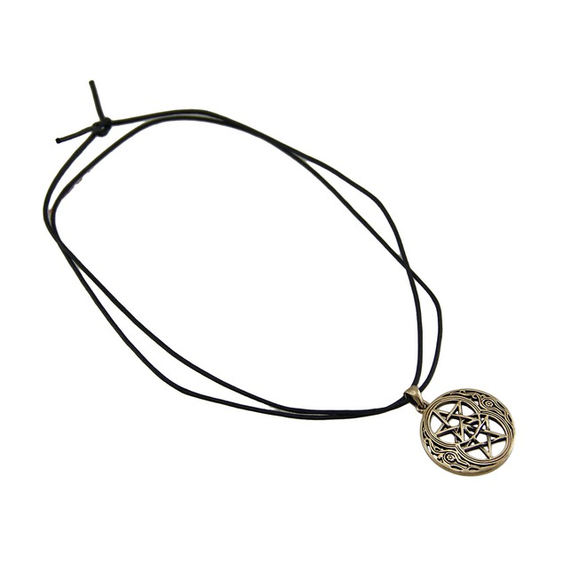 Double Pentacle Bronze Finish Pewter Pendant On Mens Pendant Necklaces