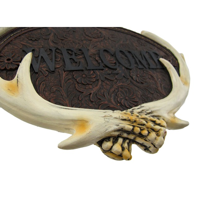 Cast Resin Deer Antler Welcome Plaque Sign Nature Decorative Plaques