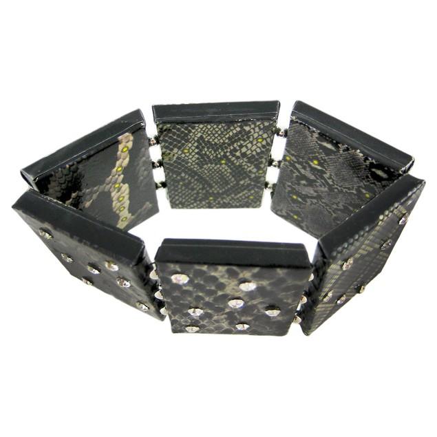 Paper Artwork Snakeskin Rhinestone Stretch Womens Bangle Bracelets