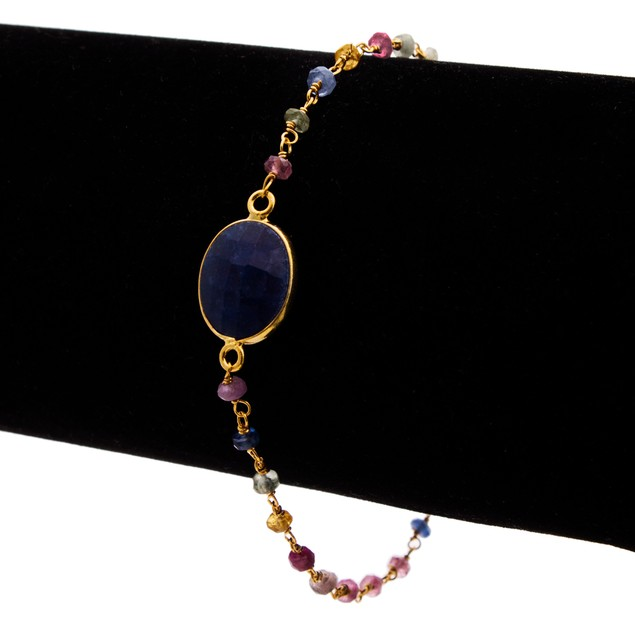 Gold Tone Sterling Silver 6 Carat Sapphire and Quartz Bracelet