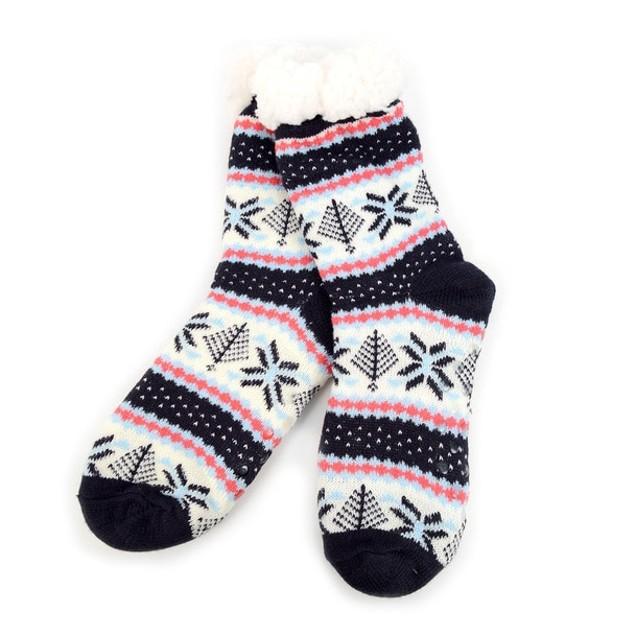 3 Pack Women's Plush Sherpa Winter Fleece Lining Christmas Slipper Socks