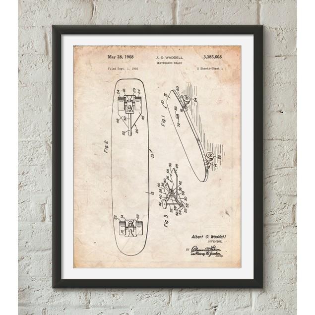 Skateboard Brake Patent Poster
