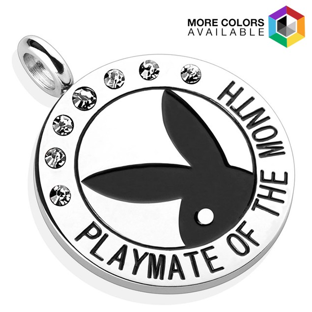 "Playboy Logo with Colored Gems ""Playmate Of The Month"" Pendant"