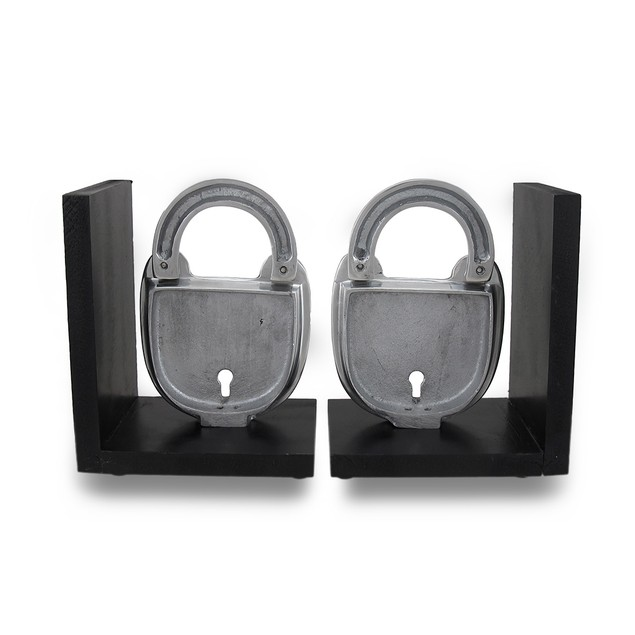 Pair Of Polished Cast Aluminum Padlock Bookends Decorative Bookends