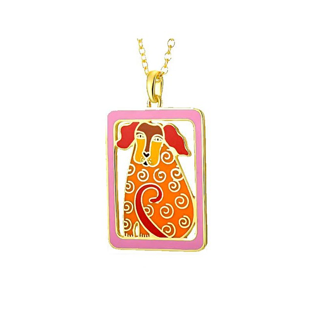 Laurel Burch Dog Tales Orange Cloisonne Pendant W/ Womens Pendant Necklaces
