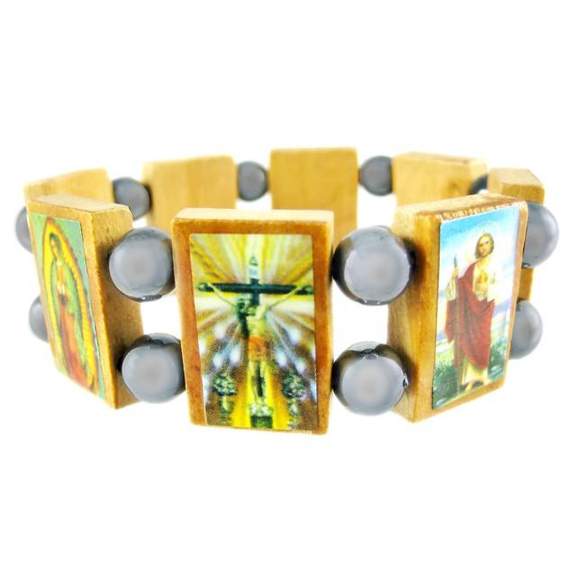 Hematite & Wood Religious Scene Stretch Bracelet Mens Bracelets