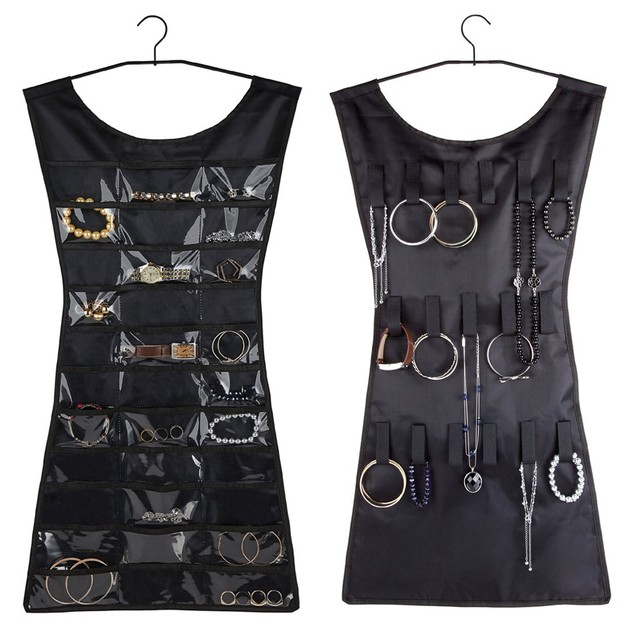 Double-Sided Black Dress Hanging Jewelry Organizer
