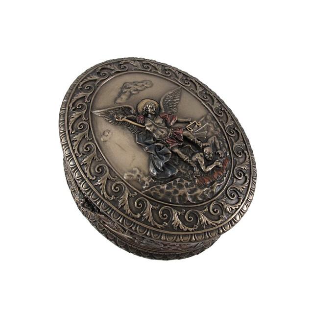 Ornate Bronze St. Michael Bas Relief Oval Trinket Decorative Boxes