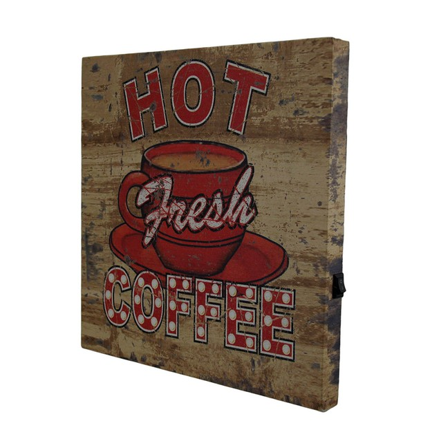 Hot Fresh Led Lighted Coffee Vintage Finish Canvas Prints