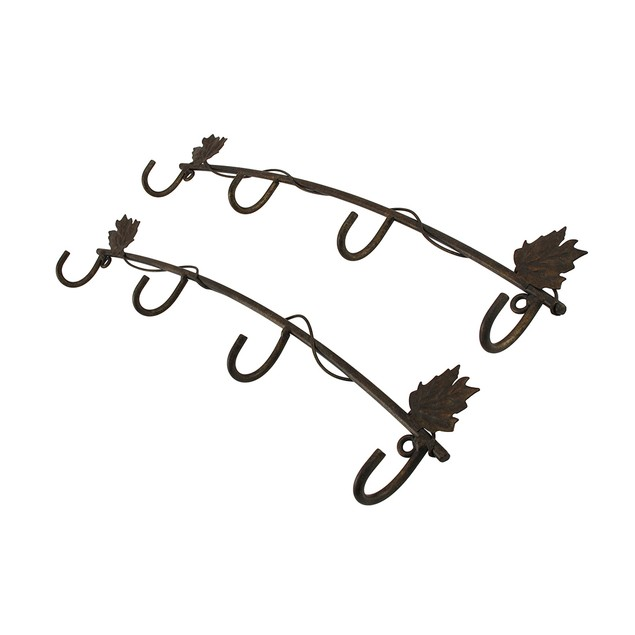 The Winery Set Of 2 Bronze Rows Of Cup Hooks Decorative Wall Hooks