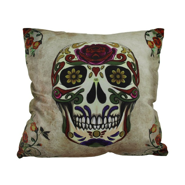 Colorful Day Of The Dead Sugar Skull 16 Inch Throw Pillows