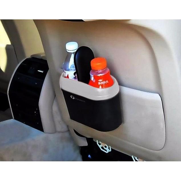 Zone Tech Black Universal Traveling Mini Portable Car Trash Can Litter Bin