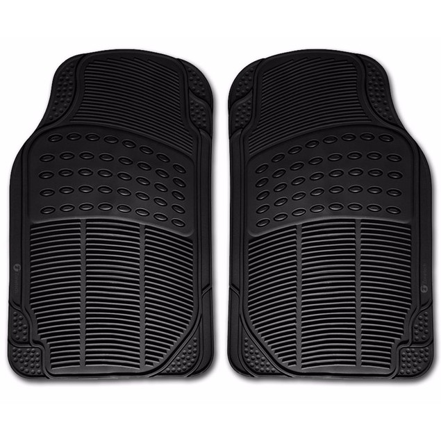 Zone Tech Black Rubber Semi Pattern Car Interior 2 Front Floor Mats