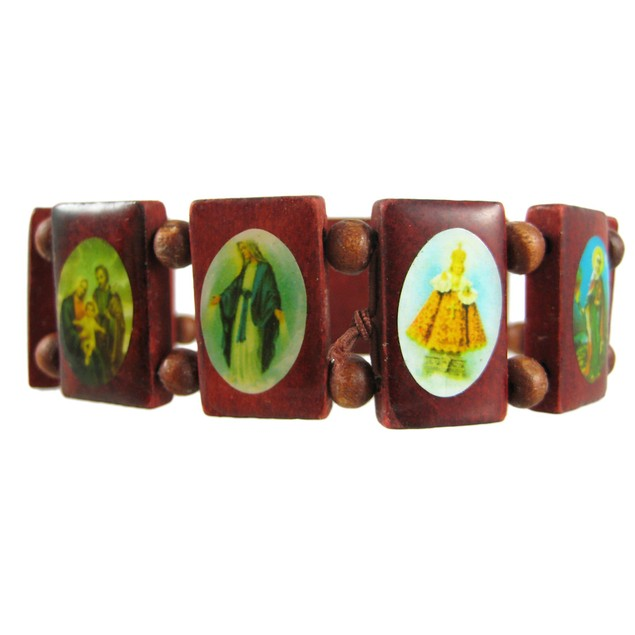 Red Wooden Bead Religious Scene Stretch Bracelet Womens Stretch Bracelets