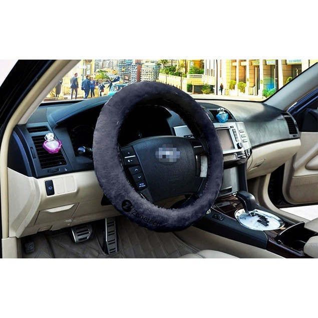 Zone Tech Stretch On Vehicle Car Steering Wheel Cover Protector Gray