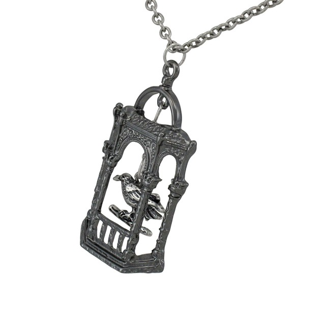 Antiqued Silver Caged Bird Necklace Womens Pendant Necklaces
