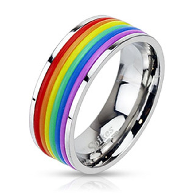 Rainbow Rubber Striped Band Ring Stainless Steel