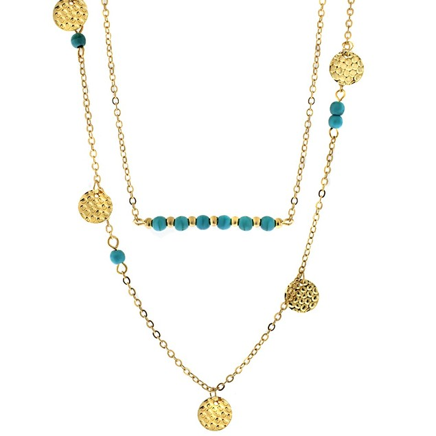 Gold Plated Double Layer Turquoise/Sequin Necklace