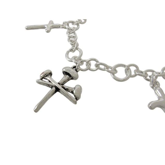 Silvertone Christian Cross And Nails Charm Womens Bracelets