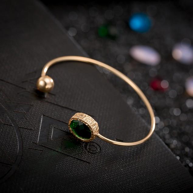 Gold Plated Emerald Gem Sleek Bangle