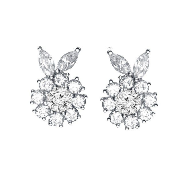 C.Z. Sterling Silver Rhodium Plated Round Flower Shape Earrings