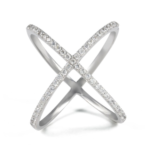"""Sterling Silver & CZ """"X"""" Open Rings"""