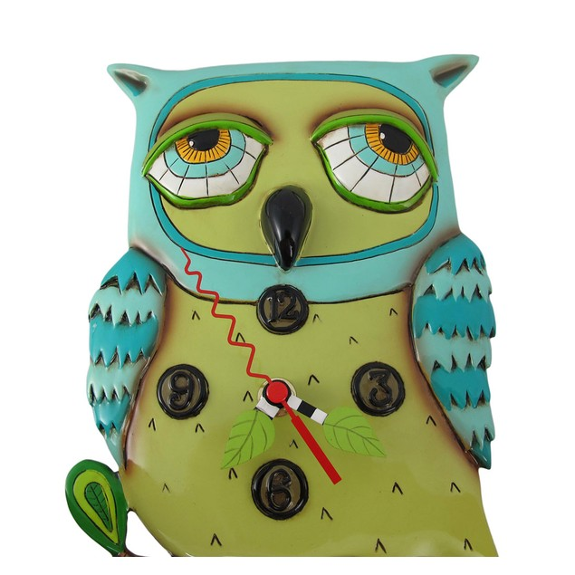 Allen Designs Old Blue Owl Pendulum Wall Clock Wall Clocks