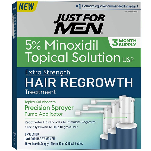 Minoxidil Solution Extra Strength Hair Regrowth Treatment by Just for Men