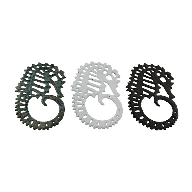 Set Of 3 Distressed Finish Cast Iron Seahorse Trivets