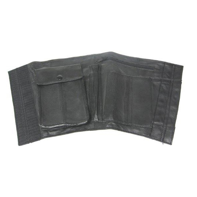 Nappa Leather Black Ankle Holster Travel Wallet Mens Wallets