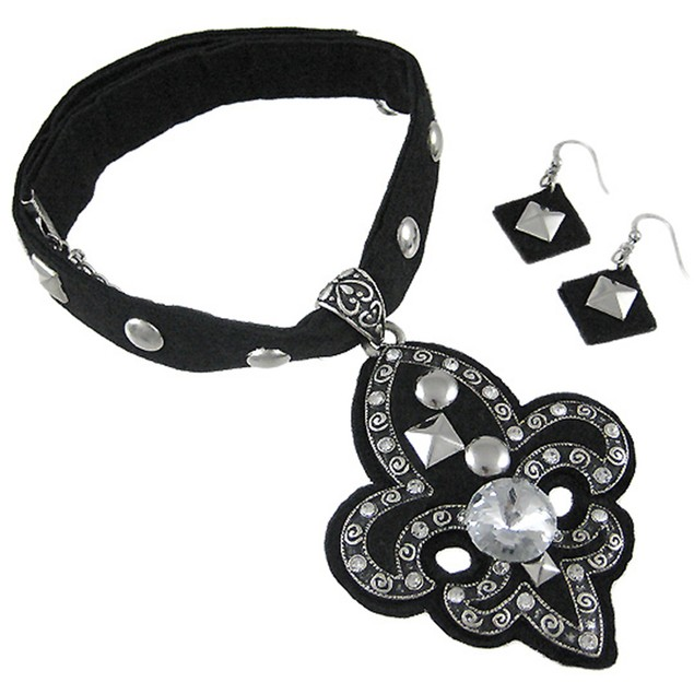 Gothic Black Fabric Fleur De Lis Necklace & Jewelry Sets