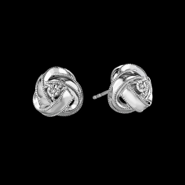 White Gold Plated Cubic Zirconia Love Knot Earrings