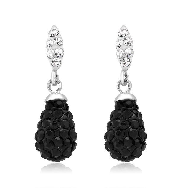Black & White Crystal Drop Earrings
