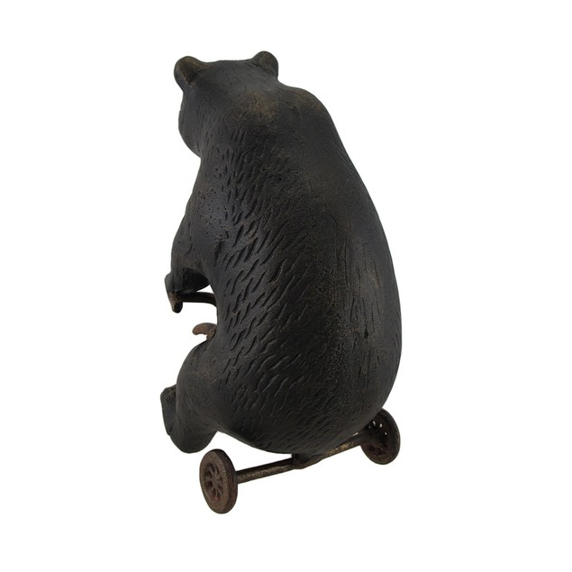 Bear Riding Tricycle Antique Brass Finish Statues